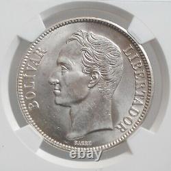 Venezuela 5 Bolivars 1936, Ms62, États-unis Du Venezuela (1879 1952)