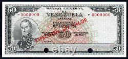 Venezuela 50 Bolivares 1964-1972 Specimen Pick 47s Sc / Unc