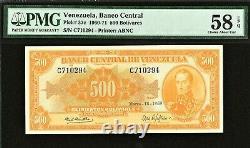 Venezuela 500 Bolivares 1969 Pick-37c A Propos De Unc Pmg 58 Epq