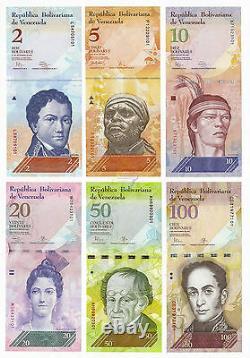 Venezuela 6 Pcs X 50 Sets 2 100 Bolivares 2007-2015 P-88 89 90 91 92 93 Unc
