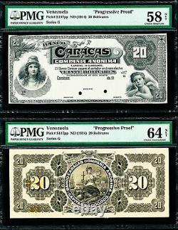 Venezuela Banco Caracas 20 Bolivares Pmg 64 Choix 1914 Preuves Avant Et Arrière