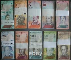 Venezuela Bolivares 1000 Pcs. 10 Faisceaux Différents Unc Brick