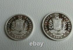Vénézuela Conservation 1975 Monnaie Royale Argent Proof 25 & 50 Bolivares Monnaie