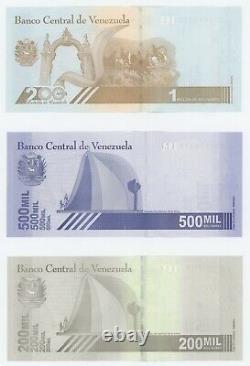 Vénézuela Ensemble De 3 Notes 200000, 500000 & 1000000 Millions De Bolivars 2020 Nouveau
