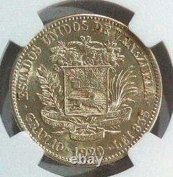 Venezuela Gram 10, 2 Bolivares 1929 Au 55 Grade Ngc. Pièce Scarce Km Y-23