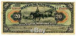 Venezuela P-s301a. 20 Bolivars 15. Juillet 1925. F ++