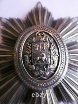 Vénézuela Plaque De Grande Croix De L'ordre Du Buste De Bolivar Signé Halley