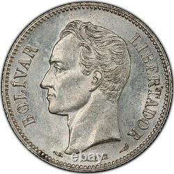 Venezuela République 2 Bolivares 1904 Pcgs Ms61 High Grade Belle Pièce Rare
