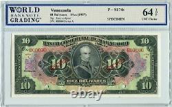 Venezuela S174s Specimen 10 Bolivares 1927, Wbg 64 Unc Choice Top