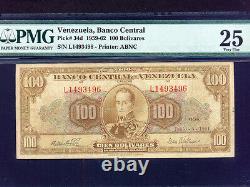 Venezuelap-34d, 100 Bolivares, 1961 Simon Bolivar & Sucre Pmg Vf 25