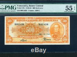 Venezuelap-37b, 500 Bolivars, 1953 Simon Bolivar Pmg Au 55 Epq