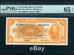 Venezuelap-37b, 500 Bolivars, 1956 Simon Bolivar Pmg Gem Unc 65 Epq