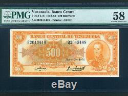 Venezuelap-37b, 500 Bolivars, 1958 Simon Bolivar Pmg Au 58