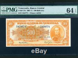 Venezuelap-37c, 500 Bolivars, 1968 Simon Bolivar Pmg Ch. Unc 64 Epq