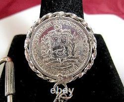 Vintage 1960 Venezuela Bolivar Libertador Pièce D'argent Avec Chaîne De Clés Sterling