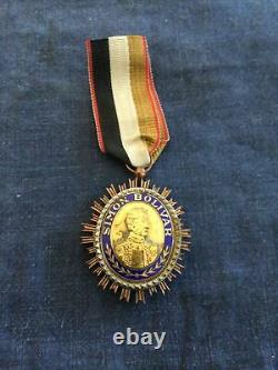 Vintage Venezuela Simon Bolivar Enamel Order Of The Liberator Medal Badge Argent